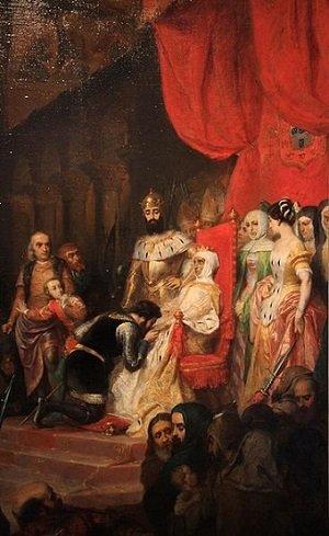 Pintura-de-la-coronacion-y-besamanos-a-Ines-de-Castro-que-impuso-el-rey-Pedro-I-Wikimedia-commons